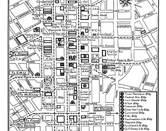 340x270 1949 Vintage Map Of Downtown Dallas Blueprint Map Print
