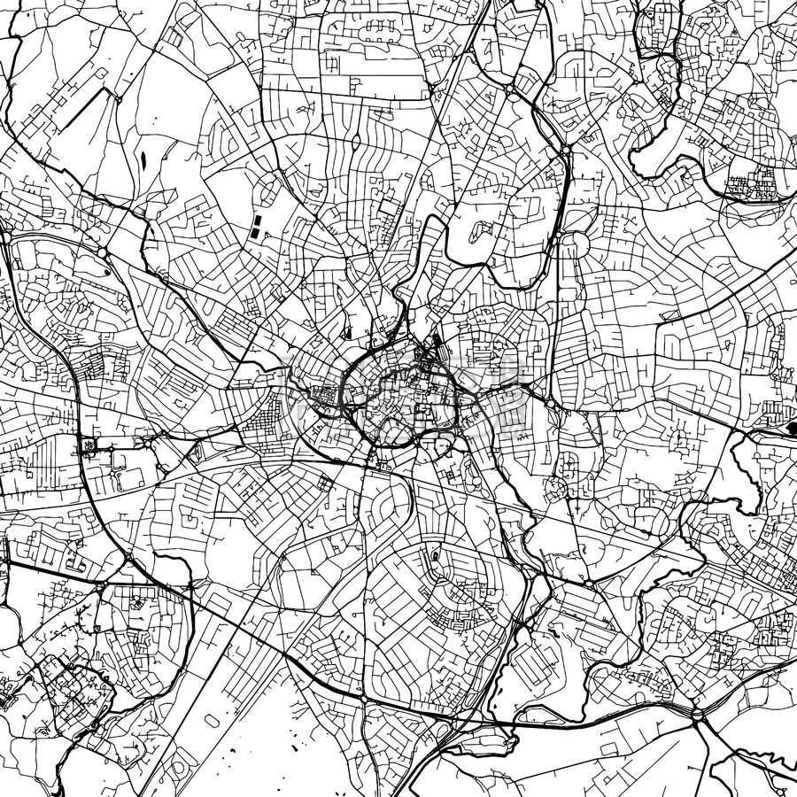 900x900 Coventry Downtown Vector Map Hebstreits