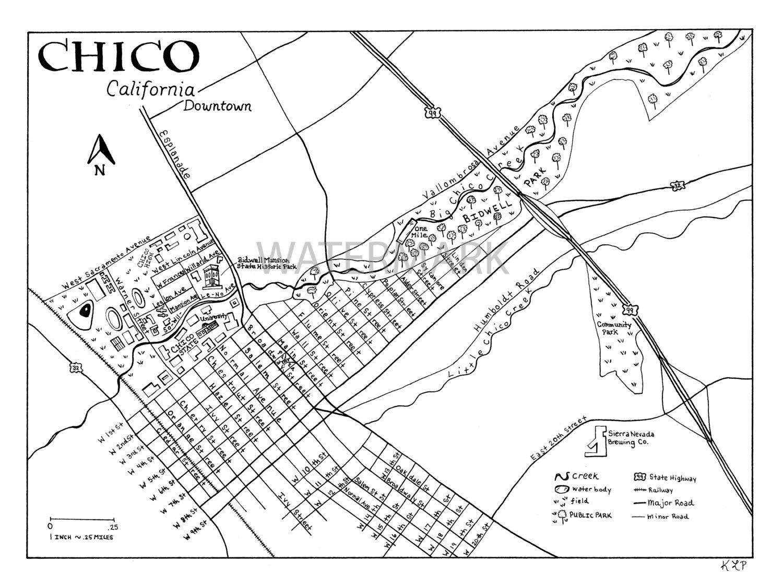 1500x1125 Downtown Chico California Hand Drawn Map