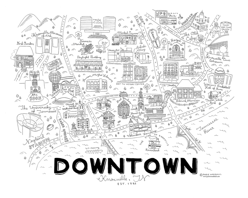 1000x796 Downtown Knoxville Print Paris Woodhull Illustrations