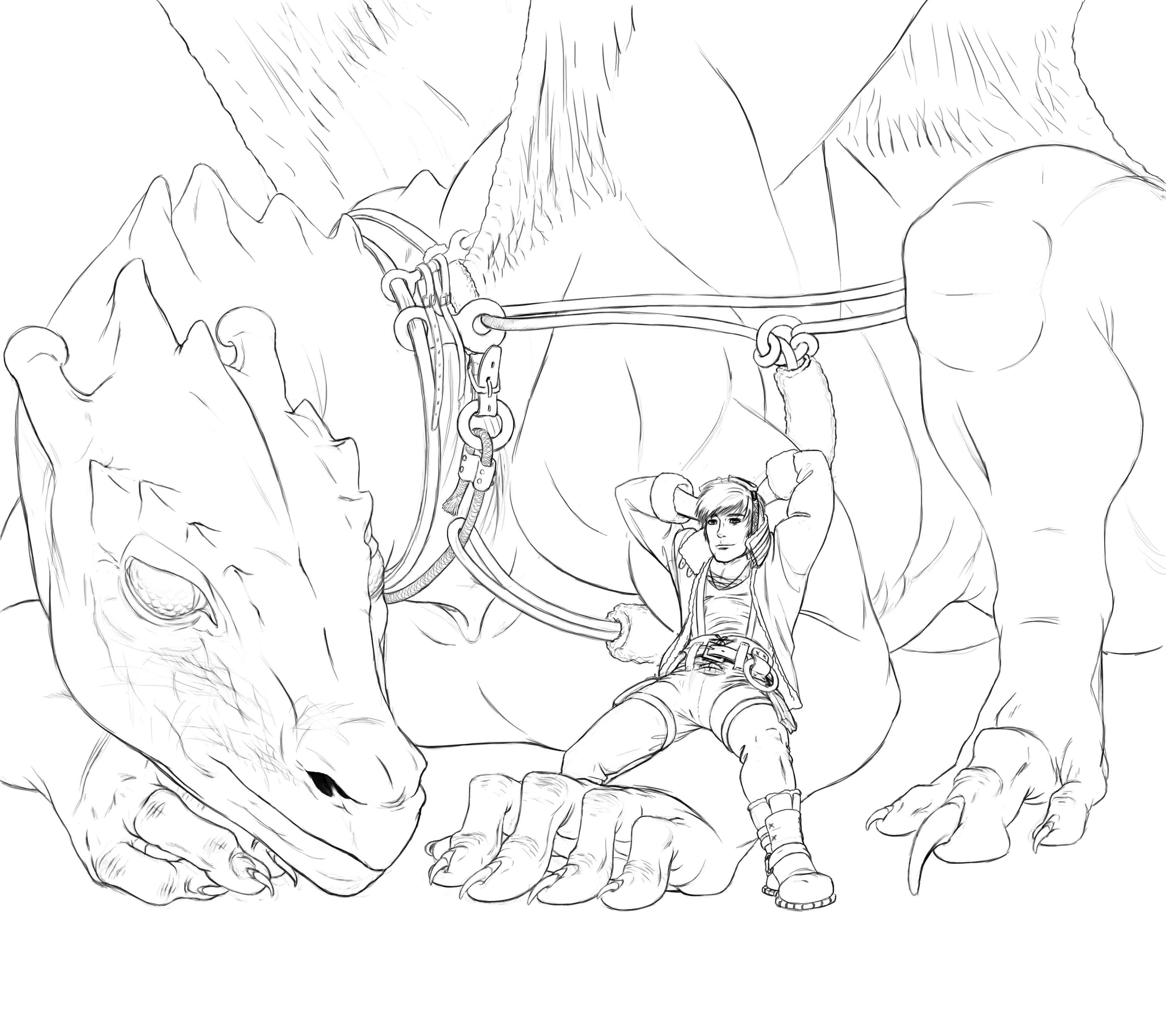 3600x3200 Pernese Dragon And Rider Lineart (2010) Weasyl