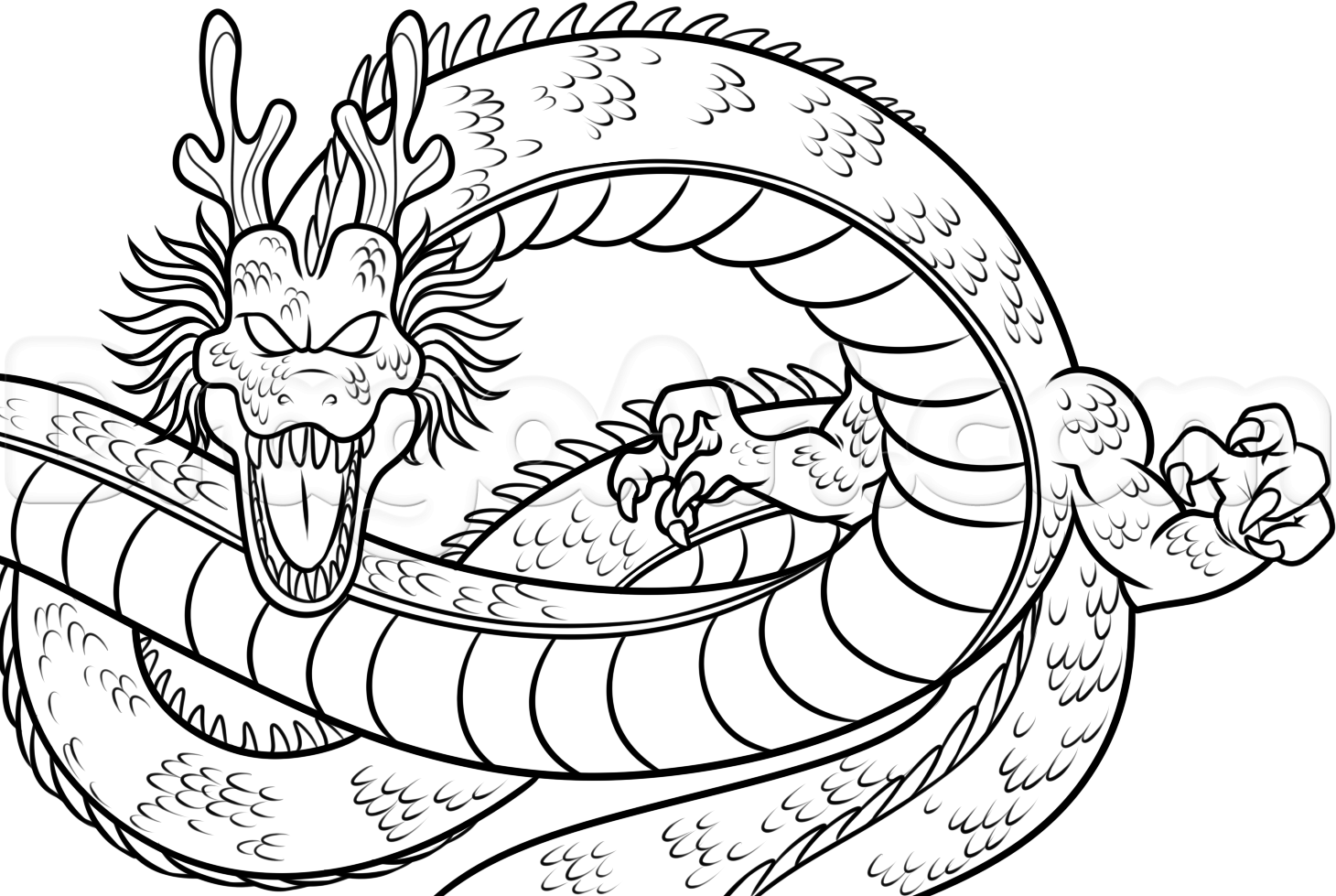 1460x979 How To Draw Shenron From Dragon Ball Z, Step By Step, Dragon Ball