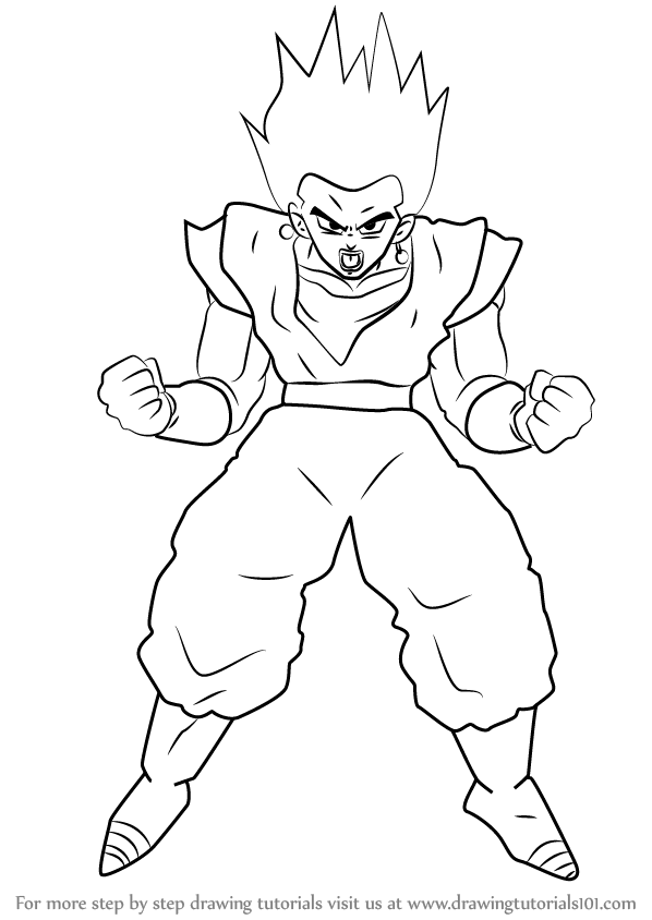 598x844 Learn How To Draw Vegito From Dragon Ball Z (Dragon Ball Z) Step