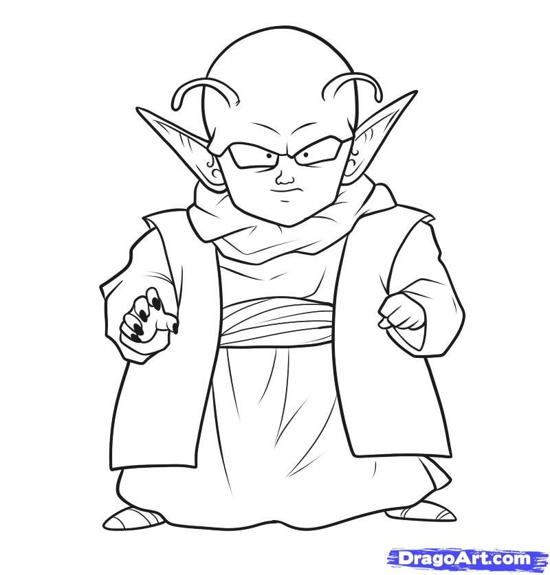 800x837 How To Draw Dende, Step By Step, Dragon Ball Z Characters, Anime