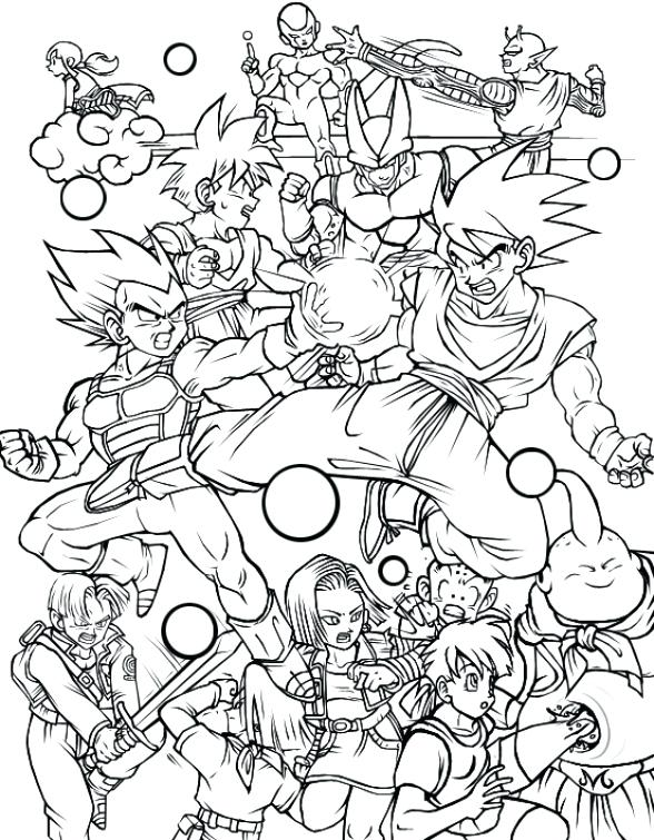 588x755 Dragonball Z Coloring Pages All Characters In Dragon Ball Z Free