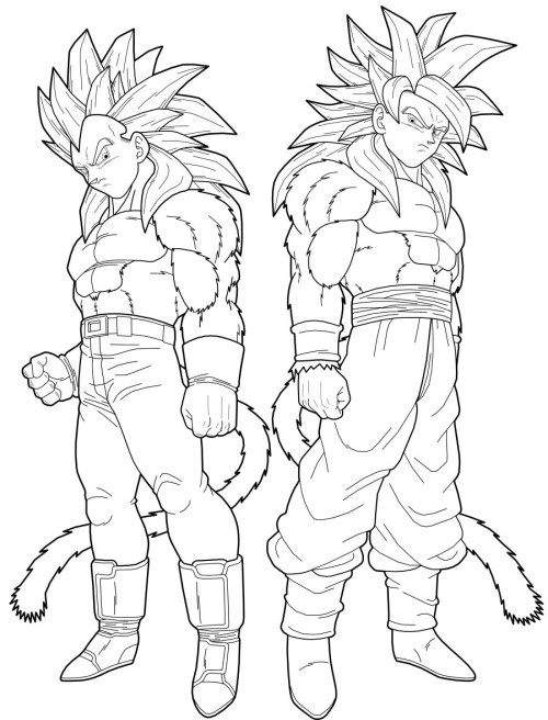 500x656 Dragon Ball Z Coloring Pages Goku Super Saiyan 4 Colouring In