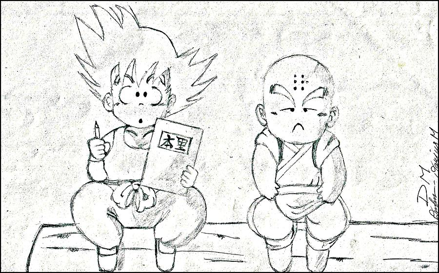 900x561 Krillin Goku Drawing Dragonball Z Drawing By Darius Matuliukstis