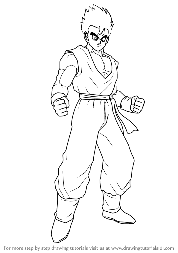 595x845 Learn How To Draw Son Gohan From Dragon Ball Z (Dragon Ball Z