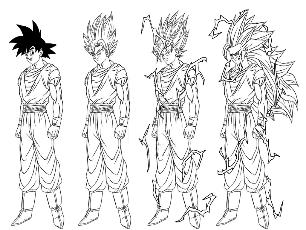 1024x768 Super Saiyan Goku Coloring Pages Super Saiyan Goku Coloring
