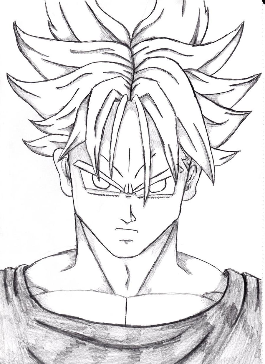 900x1236 Dragon Ballz Face Pencil Drawing Dragon Ball Z Trunks By Remorda