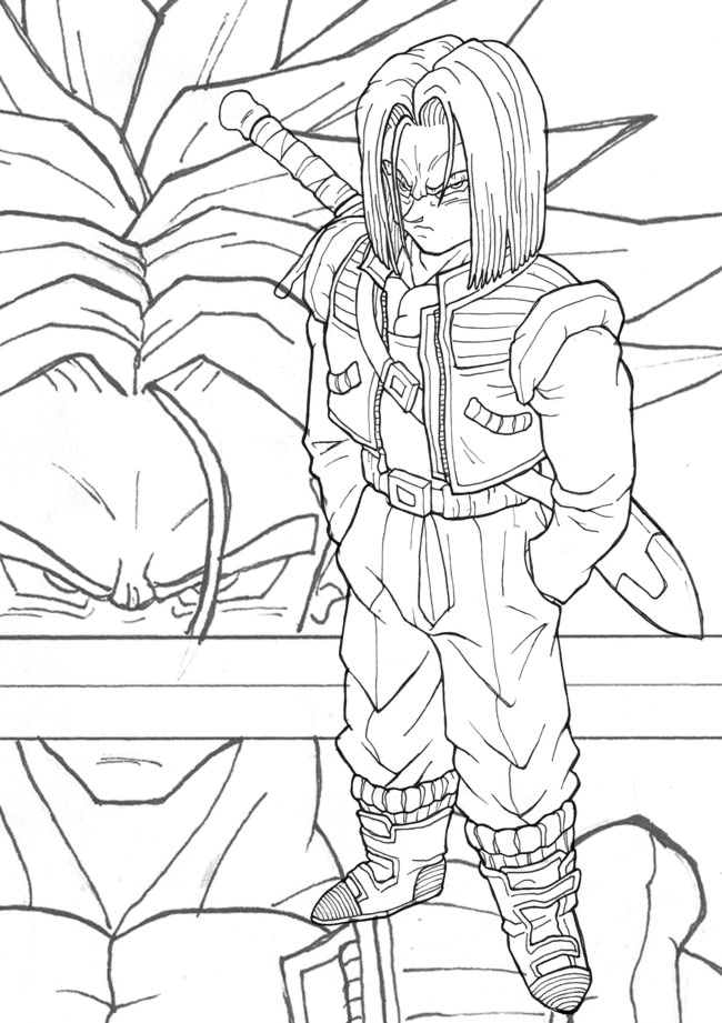 650x921 End Of Dbz Trunks Lineart By T R L