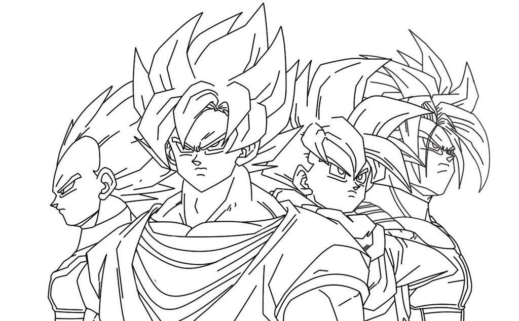 Dragon Ball Z Coloring Pages On 1 1024x634 Vegeta Goku Gohan Trunks By Imran Ryo DeviantArt