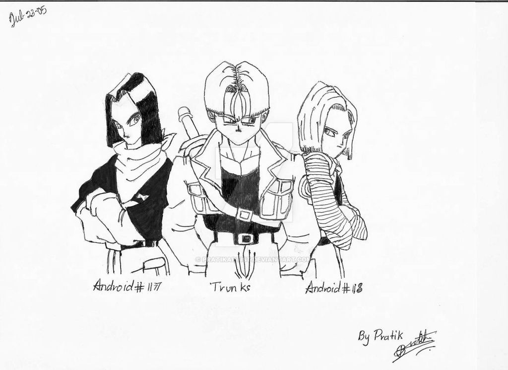 1024x745 Dragon Ball Z Android 17, Trunks And Android 18 By Pratikartist