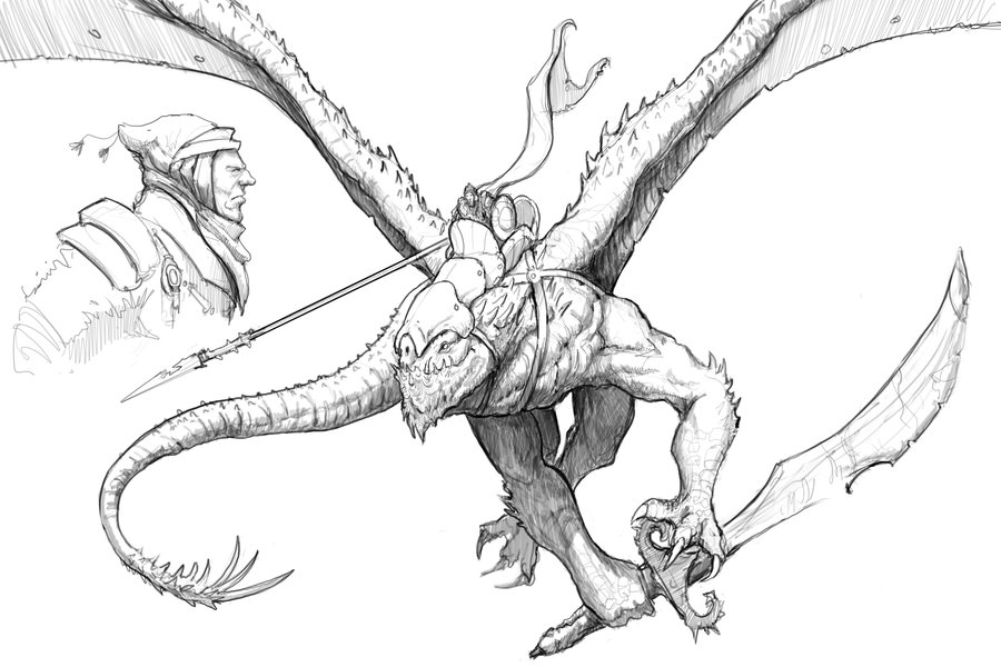 900x600 Dragon Rider Sketch By Nickdespain