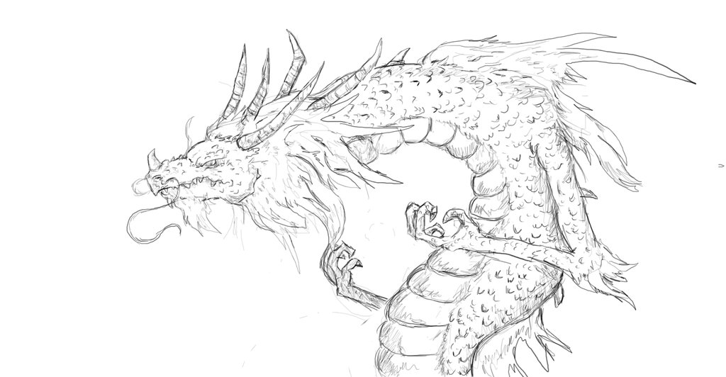 1024x532 Chinese Dragon Sketch By S3322547