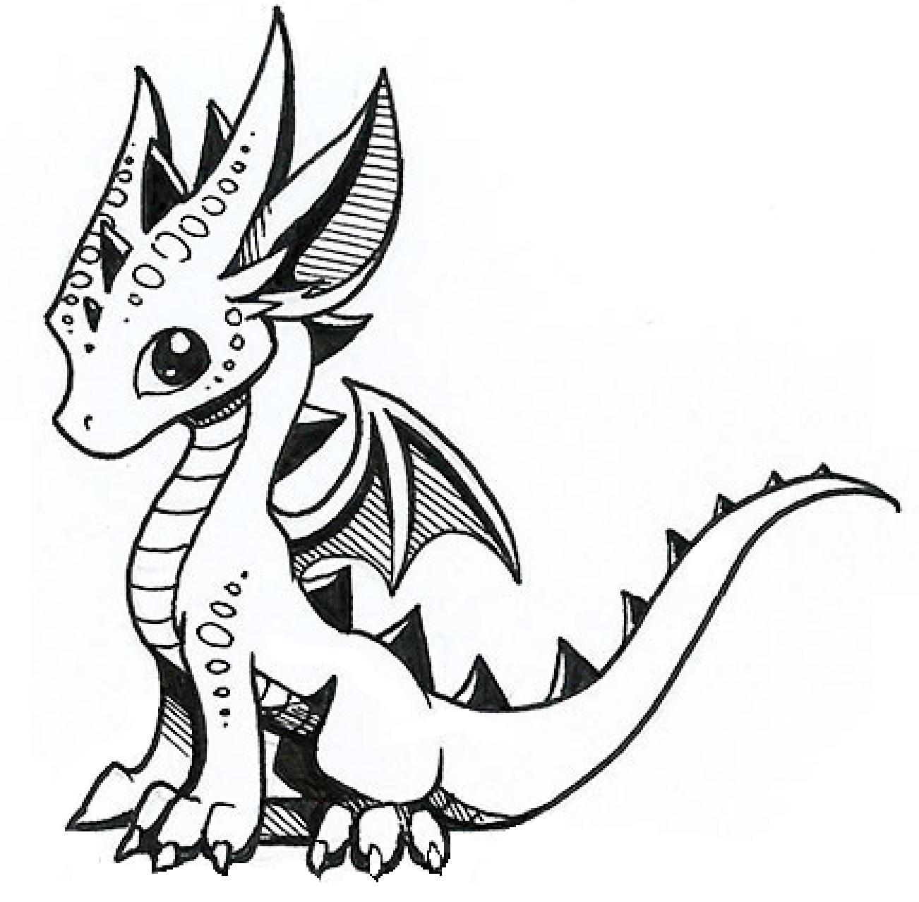 1302x1278 Cute Little Dragon Drawing Dragons, Draw