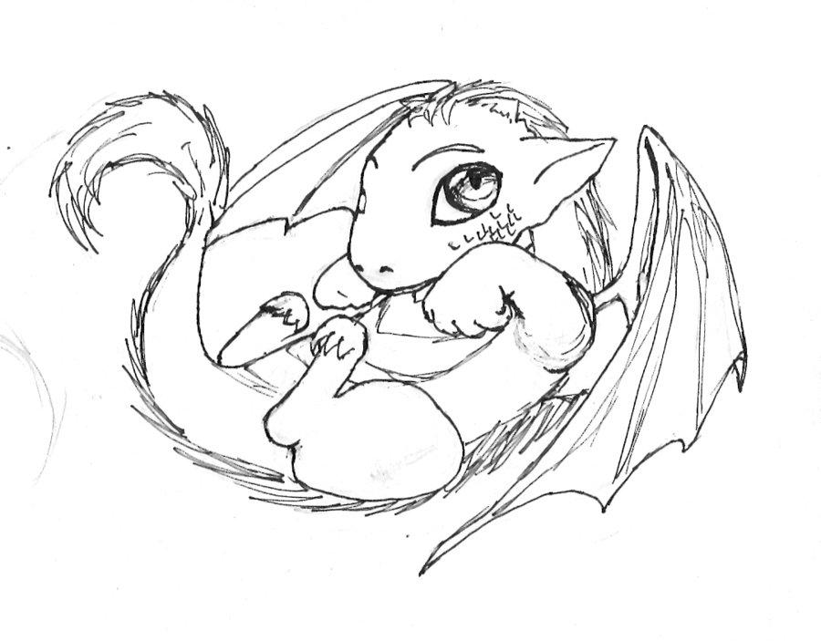 900x703 How Draw A Dragon Easy Cute How
