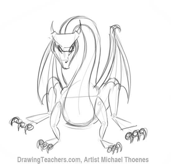 550x527 How To Draw A Dragon Sitting
