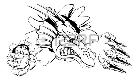 450x260 An Attacking Dragon With Claws Breakthrough Drawing Of A Dragon