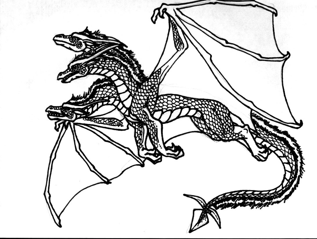 1092x826 3 headed dragon coloring pages medieval dragon coloring pages - Dragon Coloring Pictures 2