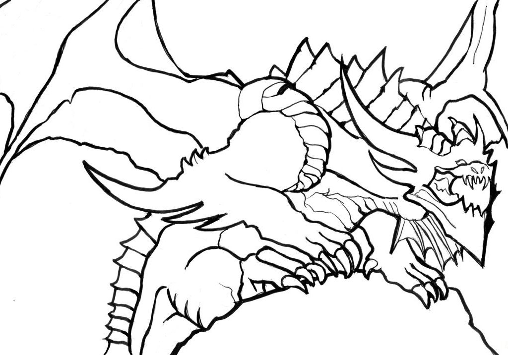 1024x716 Dragon Coloring Pages For Boys Drawing Adults Animals Pdf Detailed