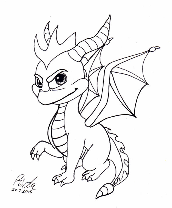 600x727 Spyro The Dragon Bw By Ricku