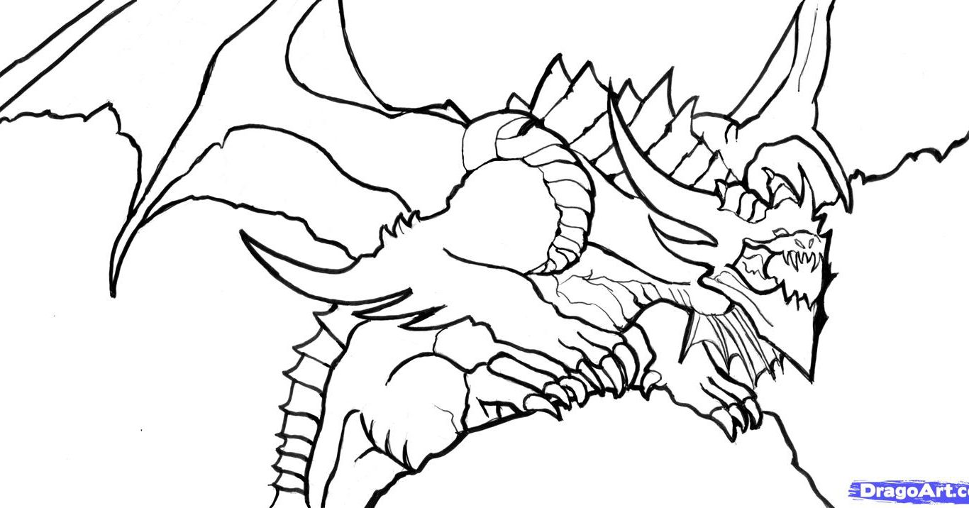 1366x716 Dragon Coloring Pages Look Real For Adults Drawing Animals