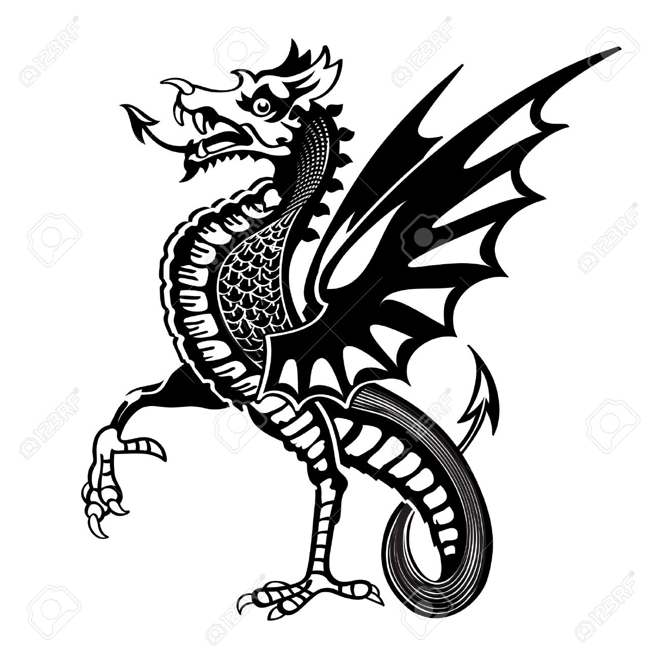 1300x1300 Vintage Medieval Dragon Drawing Royalty Free Cliparts, Vectors