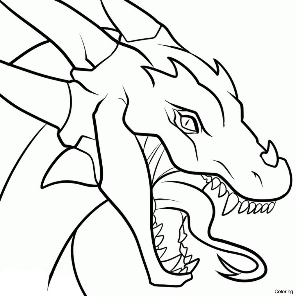 1024x1024 Cartoon Drawings Of Dragons Easy To Draw Imgimg Drawing Coloring