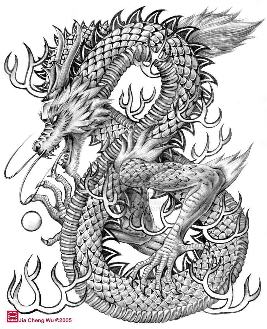 900x1110 Chinese Dragon Drawing