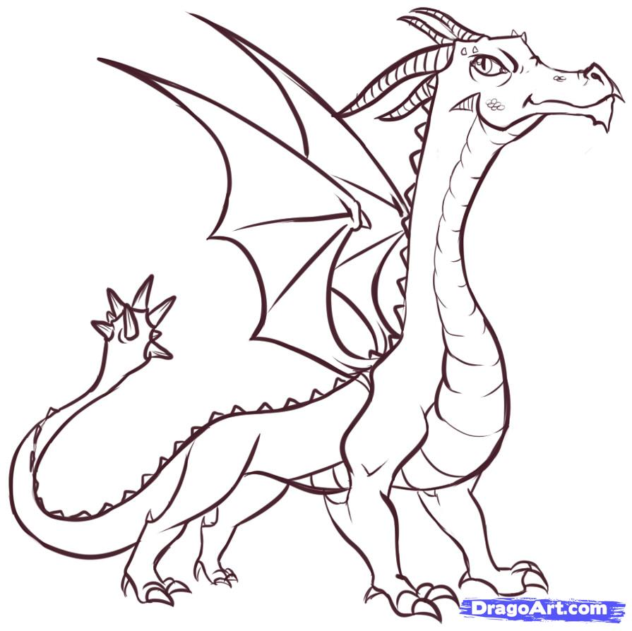 895x894 Coloring Pages Simple To Draw Dragons Dragon Drawing Easy