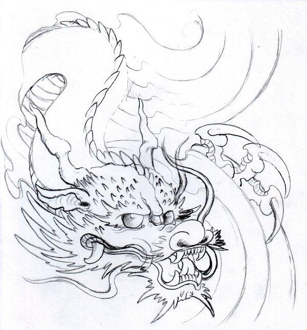 600x645 Dragon Pencil Sketch By Vikingtattoo