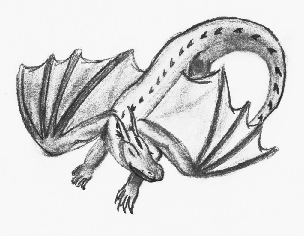1014x788 Sleeping Dragon Pencil Drawing By Theunknownety