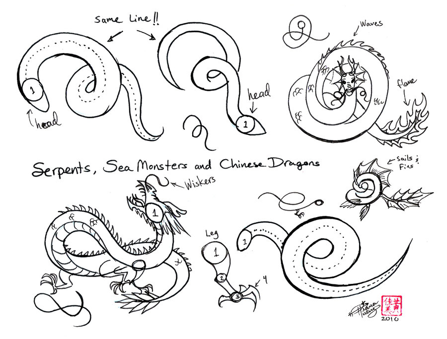 900x684 How To Doodle Wind Draw Chinese Dragons Etc By Diana Huang