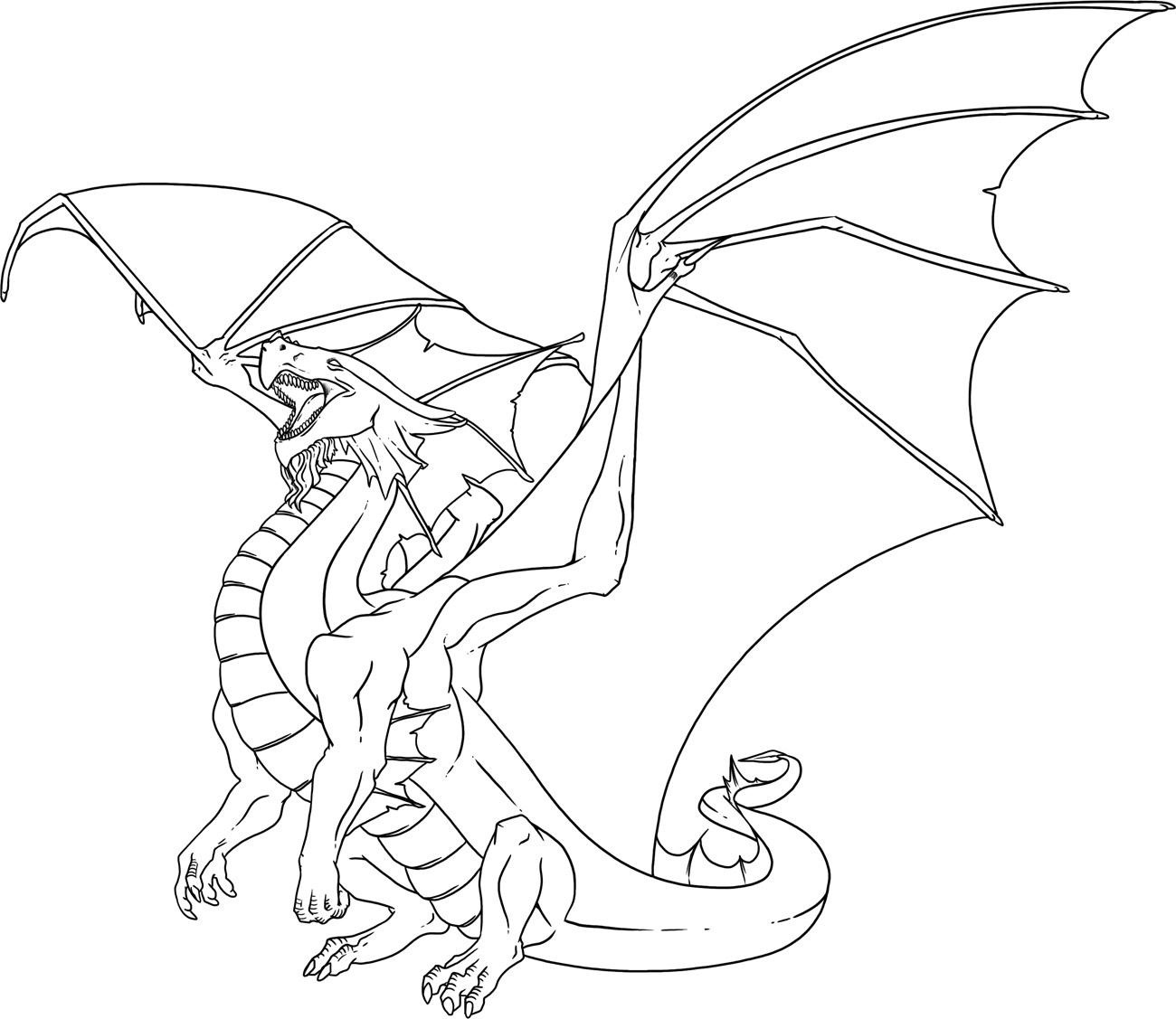 1300x1127 Dragon Drawing Tutorial To Realistic Coloring Pages
