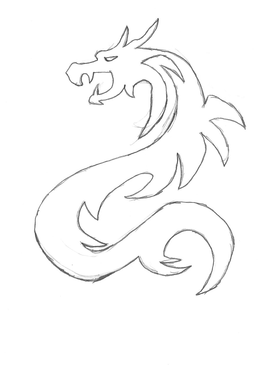 simple chinese dragon sketch