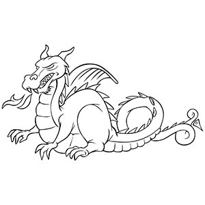 300x300 Fire Breathing Dragon Clipart Black And White