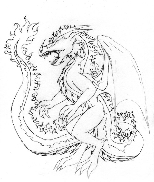 600x711 Fire Dragon Adult Sketch 2 By Linear13