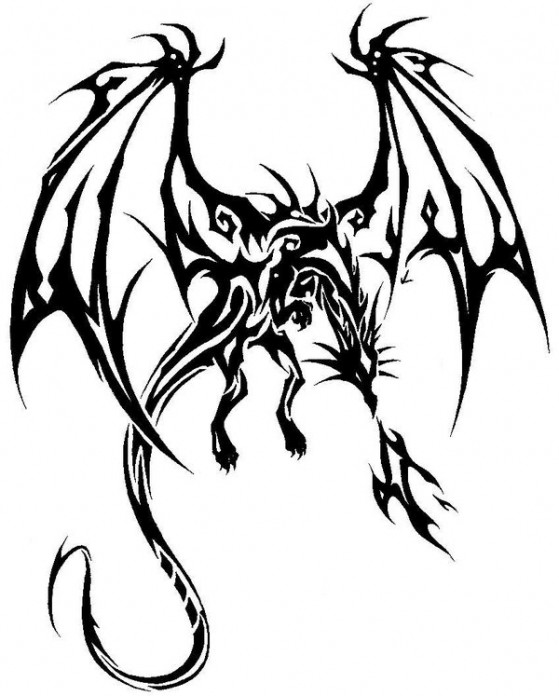 559x696 Nice Tribal Dragon With Flames Tattoo Design By Giga Drill Breaker