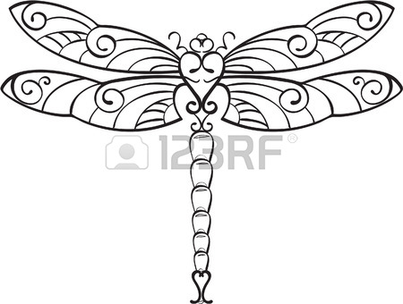 Dragon Fly Line Drawing