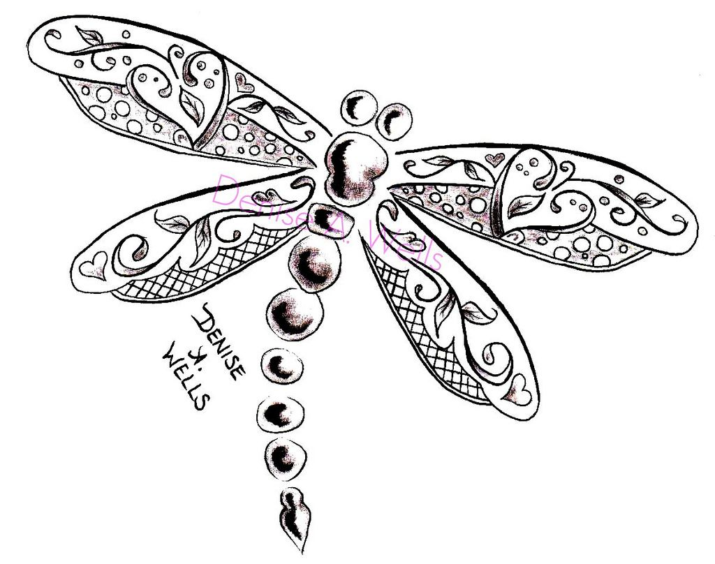 1024x808 Dragonfly Tattoo Design By Denise A. Wells Dragonfly Tattoo