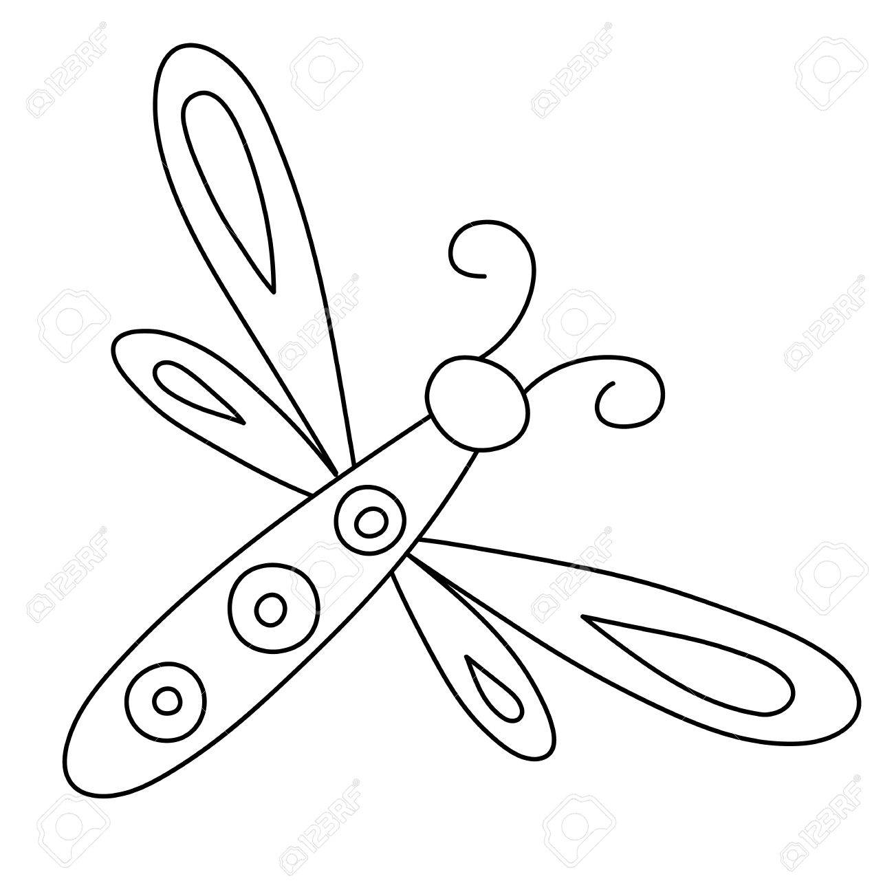 1300x1300 Outlined Hand Drawn Dragonfly Royalty Free Cliparts, Vectors,