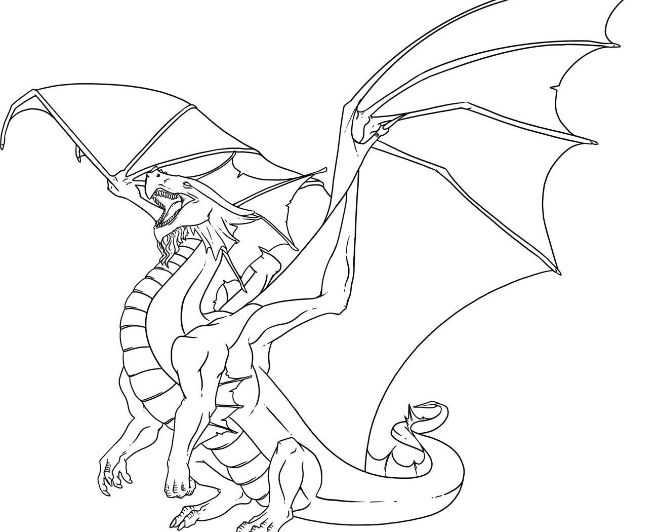 1300x1050 Dragon Coloring Pages To Print Drawing For Adults Animals