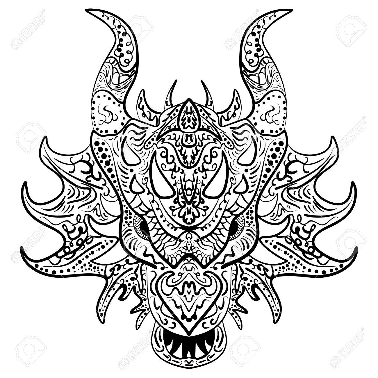 1300x1300 Dragon Doodle Vector Head. Zen Art Ethnic Drawing, Ornamental