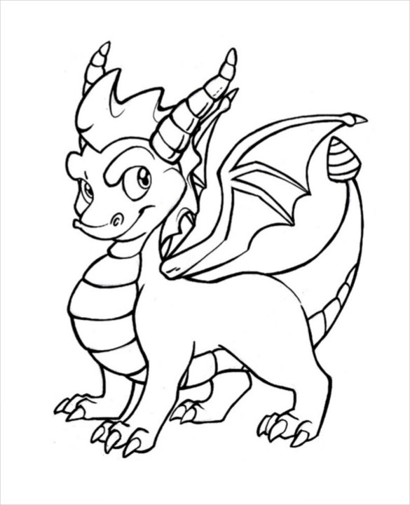 585x720 Dragon Drawing Template Free Pdf Documents Download! Free