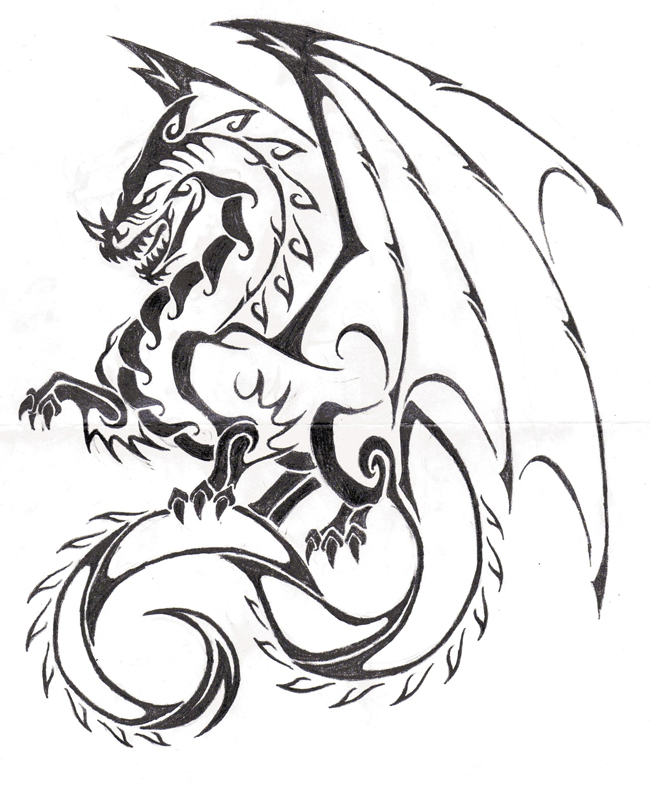 Dragon Ink Drawing