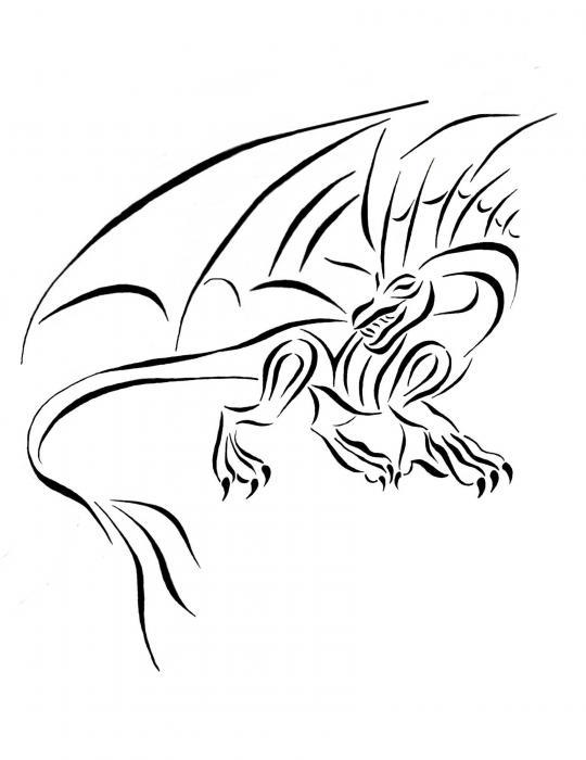 676a6c143 ... Digital Art By Tina Barnash. 540x700 Medievil Dragon Tribal Line  Drawing By Tina Barnash Dragons