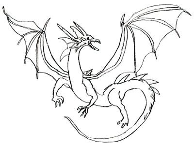 400x302 Dragon Outline Drawing Dragon Outline By Chinese Dragon Outline