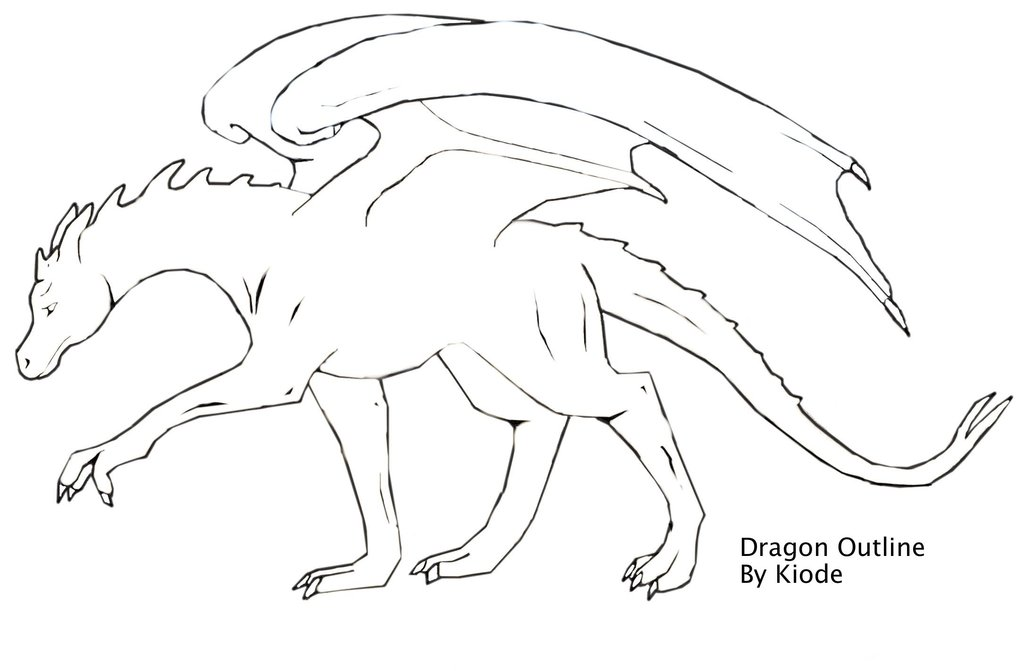 1024x671 Dragon Outline By Kiode