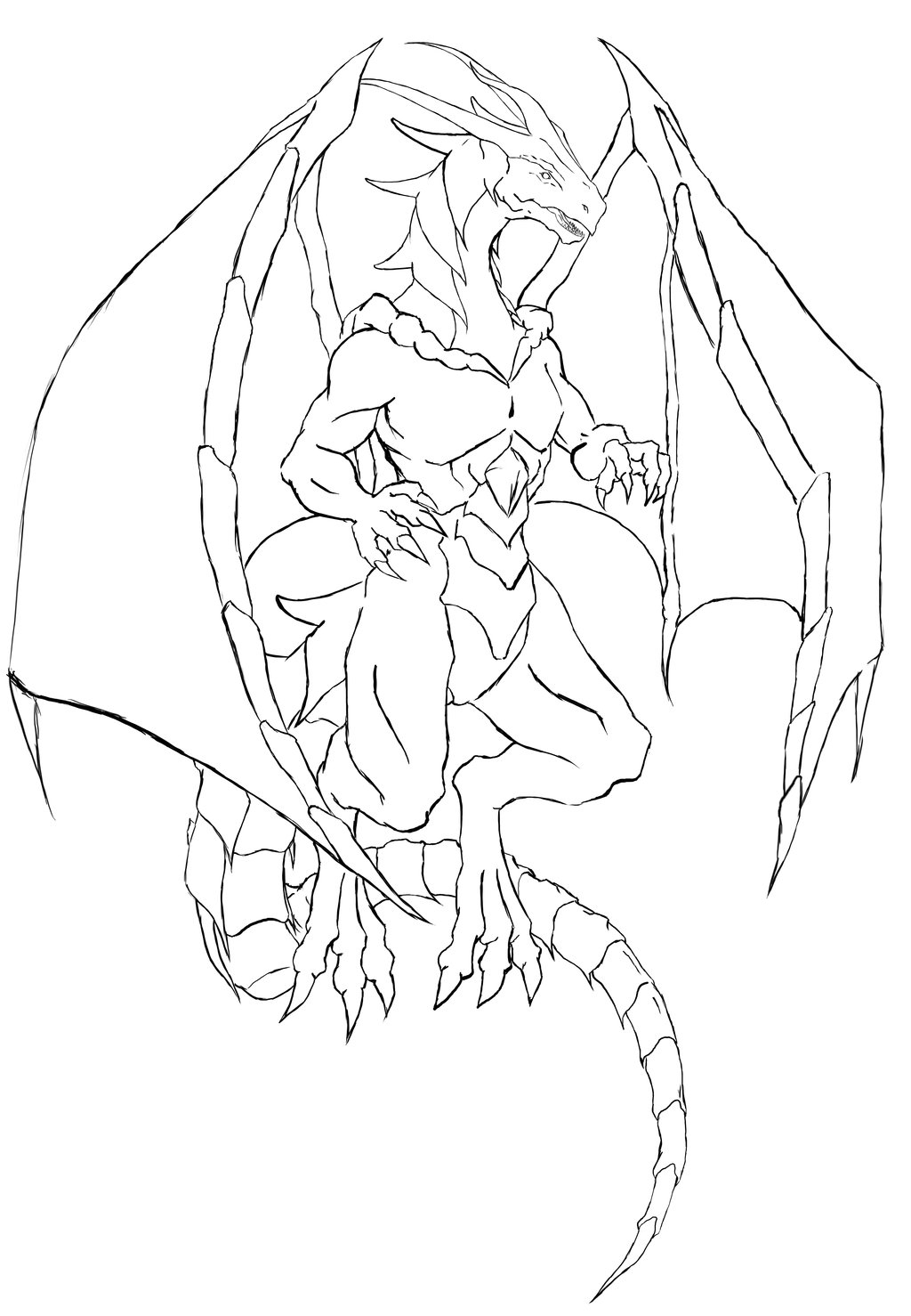 1024x1478 Dragon Outlines For Drawing
